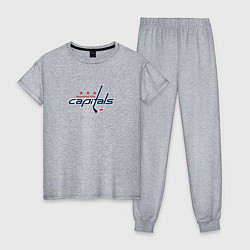 Пижама хлопковая женская Washington Capitals: Alexander Ovechkin цвета меланж — фото 1