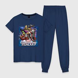 Пижама хлопковая женская Guardians of the Galaxy цвета тёмно-синий — фото 1