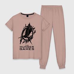 Пижама хлопковая женская The Hunger Games цвета пыльно-розовый — фото 1