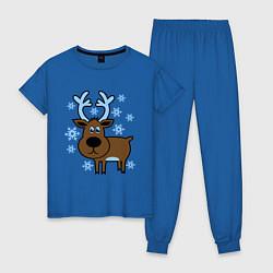 Пижама хлопковая женская Олень и снежинки цвета синий — фото 1
