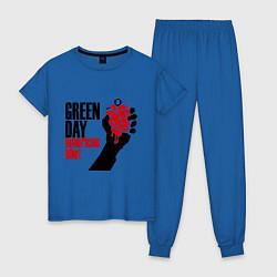 Пижама хлопковая женская Green Day: American idiot цвета синий — фото 1