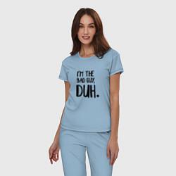 Пижама хлопковая женская I'm the bad guy, duh цвета мягкое небо — фото 2