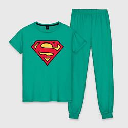 Пижама хлопковая женская Superman logo цвета зеленый — фото 1