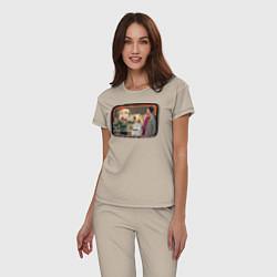 Пижама хлопковая женская Thanksgiving Day цвета миндальный — фото 2