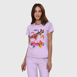 Пижама хлопковая женская Извилины цвета лаванда — фото 2