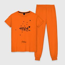 Пижама хлопковая женская Stray Kids цвета оранжевый — фото 1