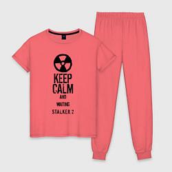 Пижама хлопковая женская STALKER 2 KEEP CALM цвета коралловый — фото 1