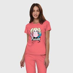 Пижама хлопковая женская Puddin' цвета коралловый — фото 2