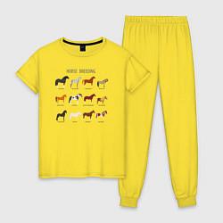 Пижама хлопковая женская HORSE BREEDING цвета желтый — фото 1
