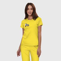 Пижама хлопковая женская Birds of Prey цвета желтый — фото 2