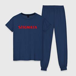 Пижама хлопковая женская Stigmata цвета тёмно-синий — фото 1