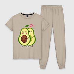 Пижама хлопковая женская Влюбленные Веганы Авокадо цвета миндальный — фото 1