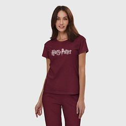 Пижама хлопковая женская Harry Potter цвета меланж-бордовый — фото 2