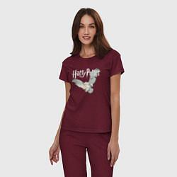 Пижама хлопковая женская Гарри Поттер: Букля цвета меланж-бордовый — фото 2