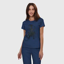 Пижама хлопковая женская Доктор Стоун цвета тёмно-синий — фото 2