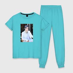 Пижама хлопковая женская BTS цвета бирюзовый — фото 1