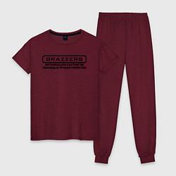 Пижама хлопковая женская Brazzers организация кастингов помощь в трудоустро цвета меланж-бордовый — фото 1