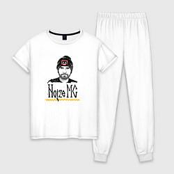 Пижама хлопковая женская Noize MC цвета белый — фото 1