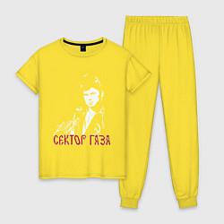 Пижама хлопковая женская Сектор газа цвета желтый — фото 1