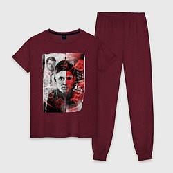 Пижама хлопковая женская Supernatural цвета меланж-бордовый — фото 1