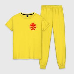 Пижама хлопковая женская OVERLORD цвета желтый — фото 1