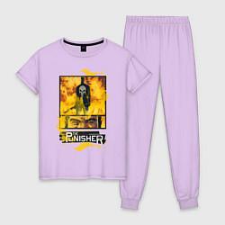 Пижама хлопковая женская The Punisher цвета лаванда — фото 1