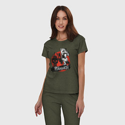 Пижама хлопковая женская The Punisher цвета меланж-хаки — фото 2