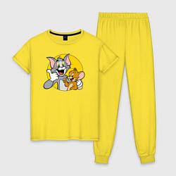 Пижама хлопковая женская Том и Джерри цвета желтый — фото 1