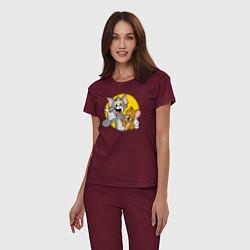Пижама хлопковая женская Том и Джерри цвета меланж-бордовый — фото 2