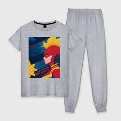 Пижама хлопковая женская Капитан Марвел Мстители цвета меланж — фото 1