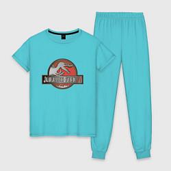 Пижама хлопковая женская Jurassic World цвета бирюзовый — фото 1
