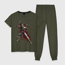 Пижама хлопковая женская Scorpion цвета меланж-хаки — фото 1