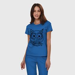 Пижама хлопковая женская Сова скетч цвета синий — фото 2