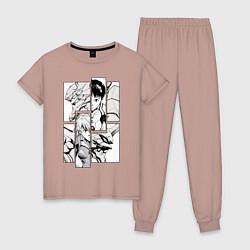 Пижама хлопковая женская Аска и Синдзи, Евангелион цвета пыльно-розовый — фото 1