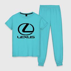 Пижама хлопковая женская LEXUS цвета бирюзовый — фото 1