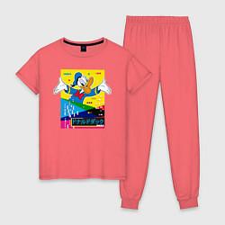 Пижама хлопковая женская Дональд Дак цвета коралловый — фото 1
