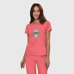 Пижама хлопковая женская Рик цвета коралловый — фото 2