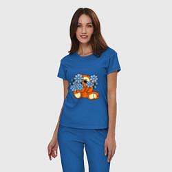 Пижама хлопковая женская Мишка с цветами цвета синий — фото 2