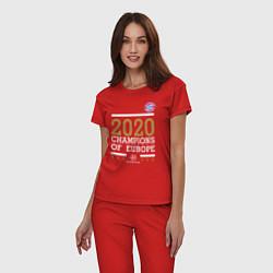 Пижама хлопковая женская FC Bayern Munchen Champions of Europe 2020 цвета красный — фото 2