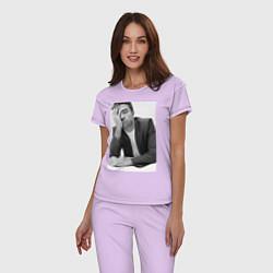 Пижама хлопковая женская Роберт Паттинсон цвета лаванда — фото 2