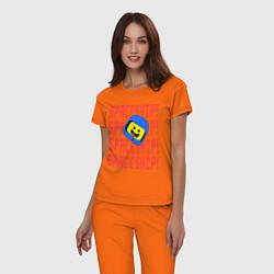 Пижама хлопковая женская Spaceship цвета оранжевый — фото 2