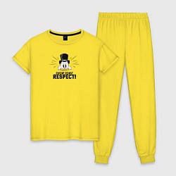 Пижама хлопковая женская Show Some Respect! цвета желтый — фото 1