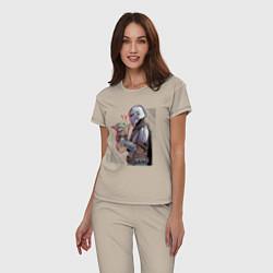 Пижама хлопковая женская Мандалорец и Дитя цвета миндальный — фото 2