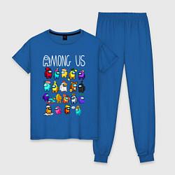 Пижама хлопковая женская AMONG US цвета синий — фото 1