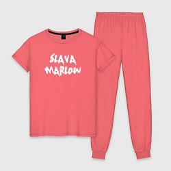Пижама хлопковая женская Slava Marlow цвета коралловый — фото 1