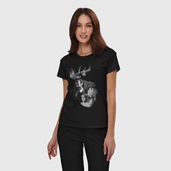 Пижама хлопковая женская Hannibal цвета черный — фото 2