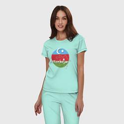 Пижама хлопковая женская Азербайджан цвета мятный — фото 2