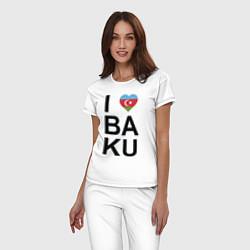 Пижама хлопковая женская Baku цвета белый — фото 2