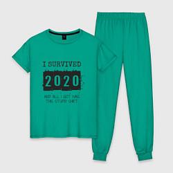 Пижама хлопковая женская 2020 - я выжил цвета зеленый — фото 1