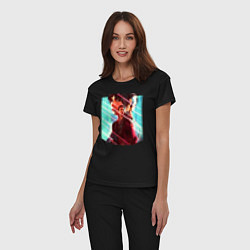 Пижама хлопковая женская Бегущий по лезвию цвета черный — фото 2